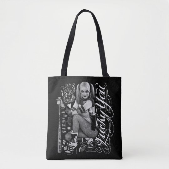 51bdd5d9c9c Close Up. . Suicide Squad | Harley Quinn Typography Photo Tote Bag