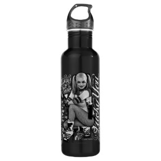 Suicide Squad | Harley Quinn Typography Photo Water Bottle