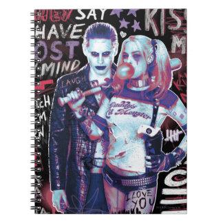 Suicide Squad   Joker & Harley Typography Photo Spiral Notebook