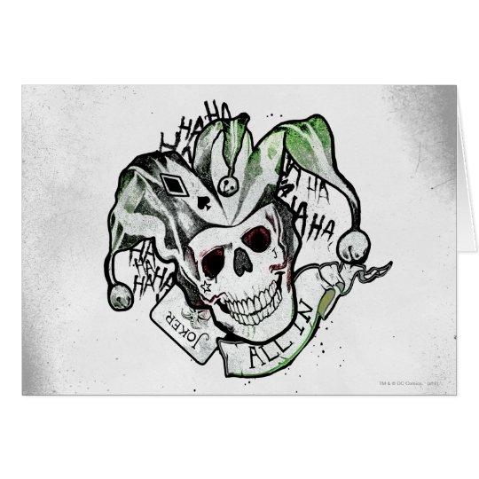 Suicide squad joker skull all in tattoo art card for Joker skull tattoo