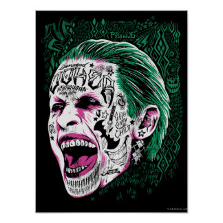 Suicide Squad | Laughing Joker Head Sketch Poster