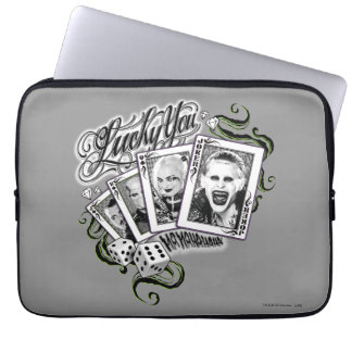 "Suicide Squad | ""Lucky You"" Playing Cards Laptop Computer Sleeve"