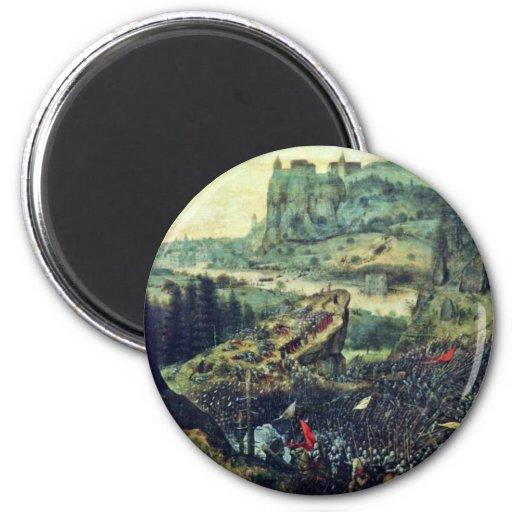Suicidio de Saul por Bruegel D. Ä. Pieter (el Imán Redondo 5 Cm