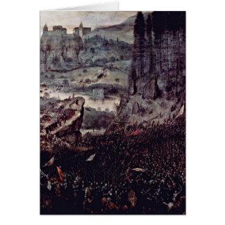 Suicidio del detalle de Saul por Bruegel A Pieter Tarjeta