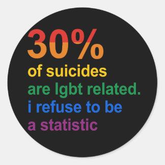 Suicidio gay - rechazo ser una estadística pegatina redonda