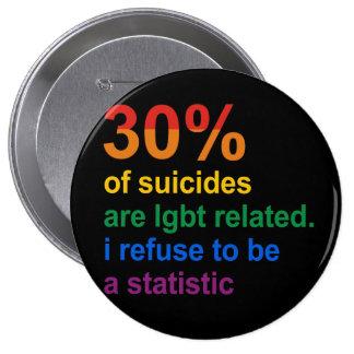 Suicidio gay - rechazo ser una estadística pin redondo 10 cm