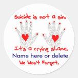 Suicidio-no es un pecado, él es un diseño de la etiqueta redonda