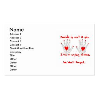 Suicidio-no es un pecado, él es un diseño de la tarjetas de visita
