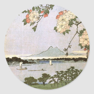 Suijin Shrine and Massaki on the Sumida River Classic Round Sticker