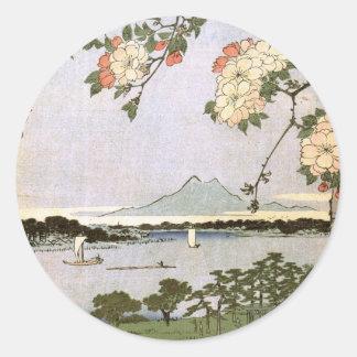 Suijin Shrine and Massaki on the Sumida River Classic Round Sticker