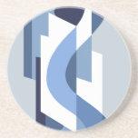 SUISSE: Art Deco Moderne: Blue Monday Drink Coaster