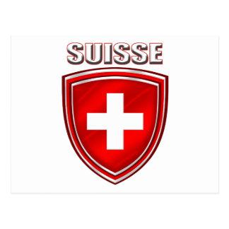 Suisse logo shield emblem flag of Switzerland Postcard