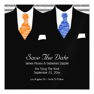 Suit and Tie Gay Save The Date Mr & Mr Wedding Magnetic Card