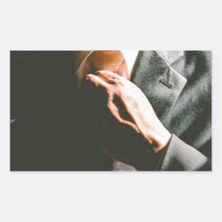 Suit businessman tie shadow effect rectangular sticker