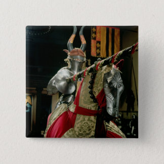 Suit of armour and matching horse armour pinback button