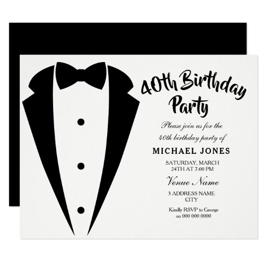 Suit Tie Mens 40th Birthday Party Invitation