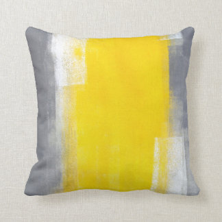 'Suit Up' Grey and Yellow Abstract Art Pillow