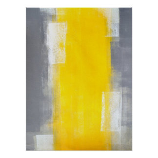 'Suit Up' Grey and Yellow Abstract Art Poster