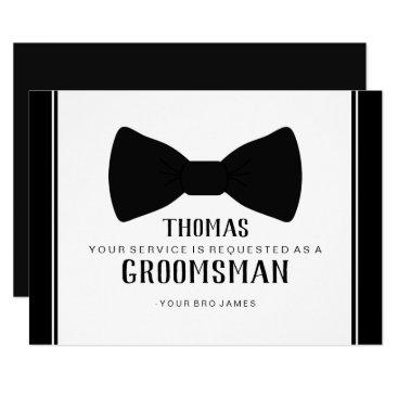 Wedding Themed Suit Up Groomsman Card - Tux Black Tie