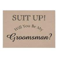 Suit Up - Will You Be My Groomsman Rustic Card