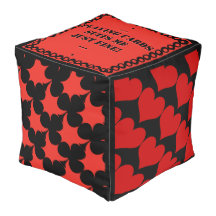 Suitable - Coral Red and Black (Personalized) Cube Pouf