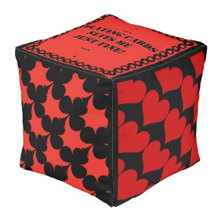 Suitable - Coral Red and Black - Personalized Pouf