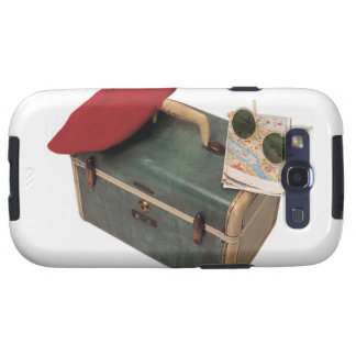 Suitcase , beret , map , and sunglasses galaxy SIII cover