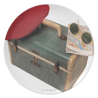 Suitcase , beret , map , and sunglasses dinner plate