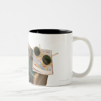 Suitcase , beret , map , and sunglasses Two-Tone coffee mug