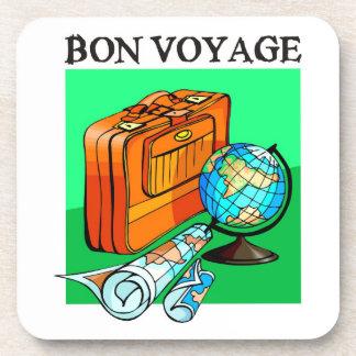 Suitcase, luggage, map and globe: Bon Voyage! Drink Coasters