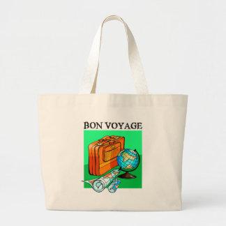 Suitcase, luggage, map and globe: Bon Voyage! Jumbo Tote Bag