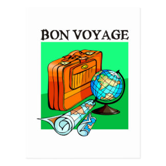 Suitcase, luggage, map and globe: Bon Voyage! Postcard