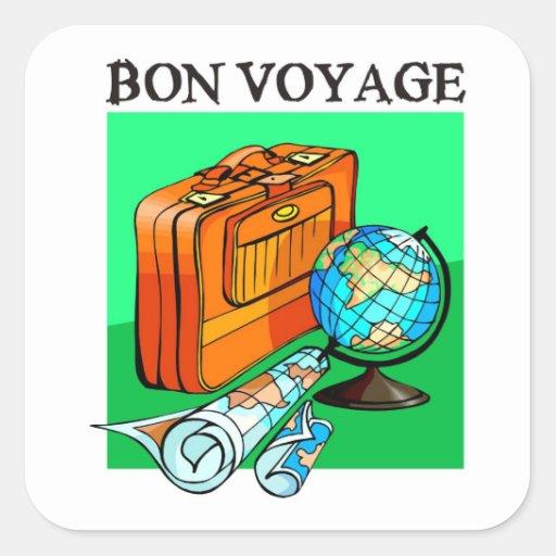 Suitcase, luggage, map and globe: Bon Voyage! Square Sticker