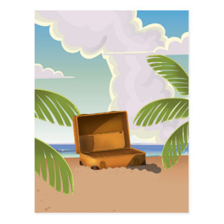 Suitcase open on a Beach Postcard
