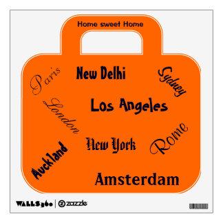Suitcase orange wall sticker