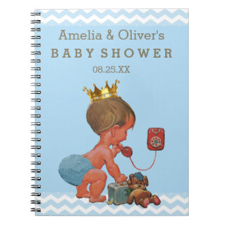 Suitcase Prince on Phone Baby Shower Guest Book Spiral Notebook