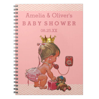 Suitcase Princess on Phone Baby Shower Guest Book Spiral Notebook