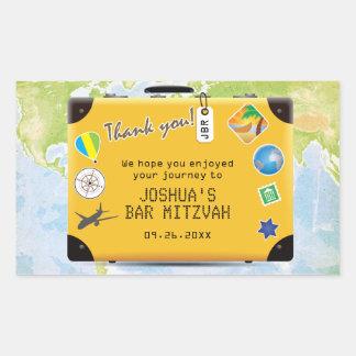 Suitcase World Travel Themed Bar Bat Mitzvah Rectangular Sticker