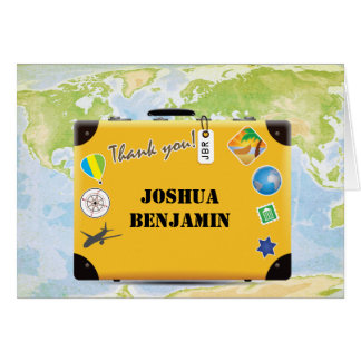 Suitcase World Travel Themed Thank You Card
