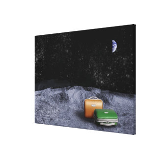 Suitcases on the Moon Canvas Print
