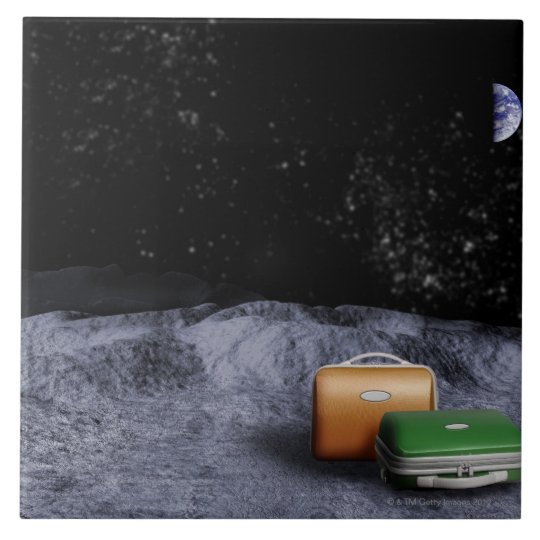 Suitcases on the Moon Ceramic Tile