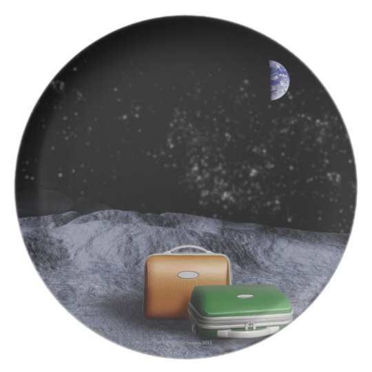 Suitcases on the Moon Melamine Plate