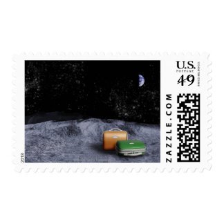 Suitcases on the Moon Postage Stamp