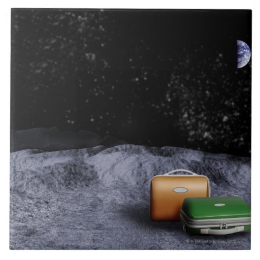 Suitcases on the Moon Tile