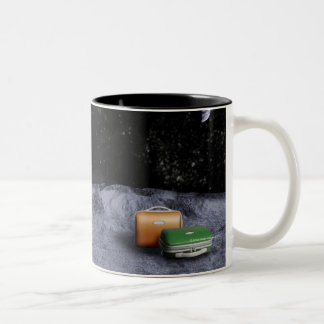 Suitcases on the Moon Two-Tone Coffee Mug