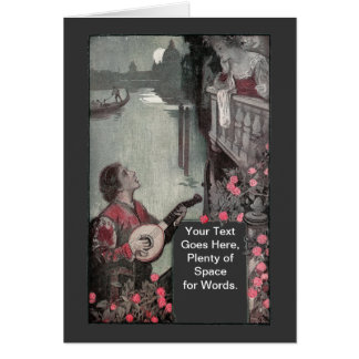 Suitor Serenades Lady in Venice Card