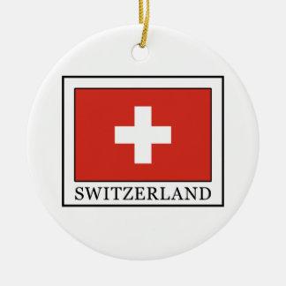 Suiza Adorno Navideño Redondo De Cerámica
