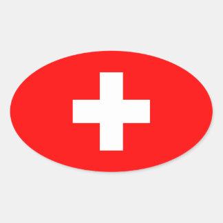 Suiza - bandera suiza pegatina ovalada