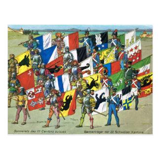 Suiza, banderas de los 22 cantones suizos postal