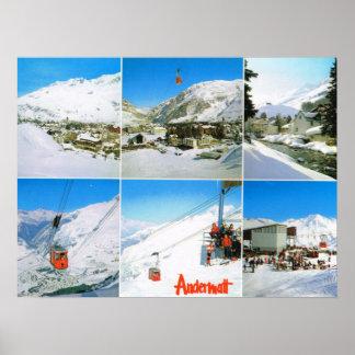 Suiza, estación de esquí del invierno de Andermatt Póster